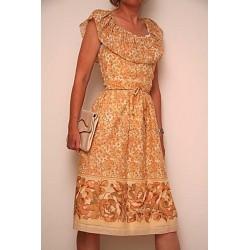 Brunlig, blomstret 70'er kjole-S/M