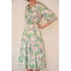 Grøn/lilla 70'er kjole-M/L