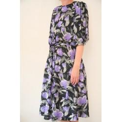 Sort 80'er kjole med lilla blomster-L