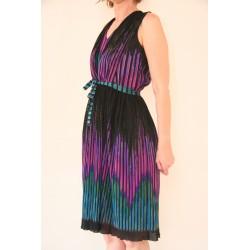 Sort 80'er kjole med plisseret nederdel-M