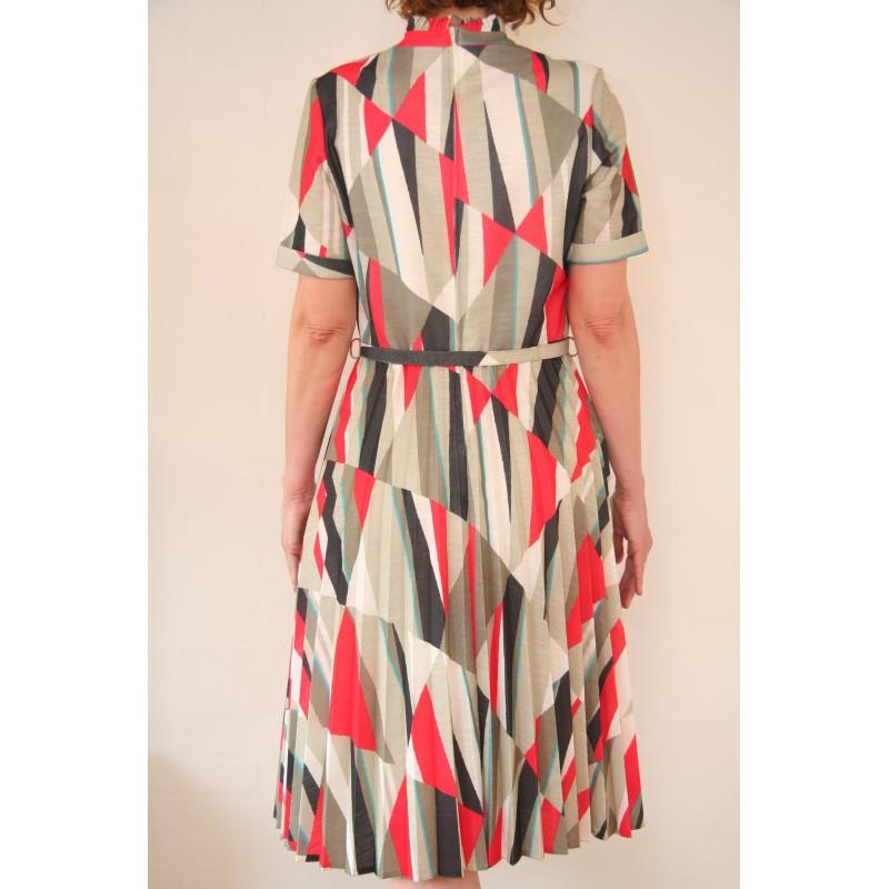 fcd1dd03199 70'er kjole med trekanter-M/L - VintageFashion.dk