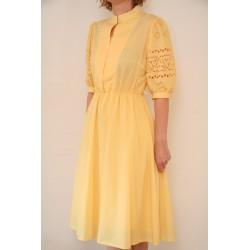 Vintage lysegul 80'er kjole-L