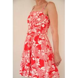 Vintage 70'er kjole med rød/hvide blomster-XS/S