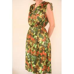 Vintage 70'er kjole med sommerfugle-L