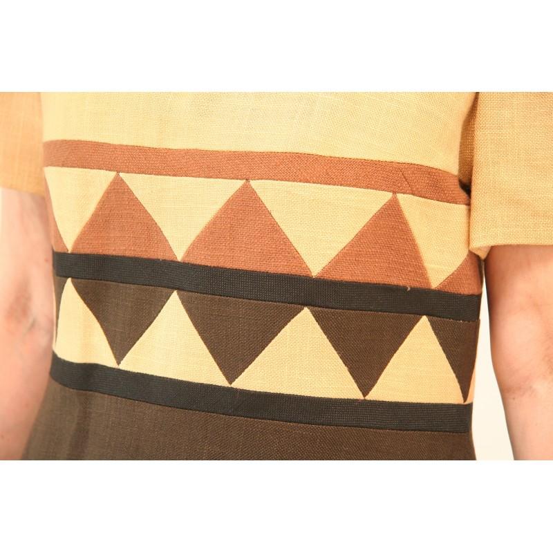eb70dc3ba39 70'er kjole i flere farver brun-M - VintageFashion.dk