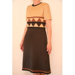 70'er kjole i flere farver brun-M