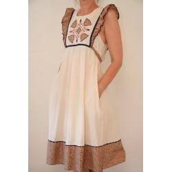 Sød cremefarvet 70'er kjole-M