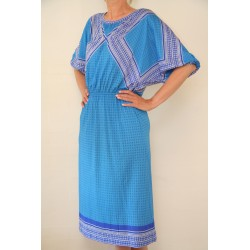 Koboltblå 80'er kjole-M