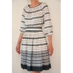 Vintage sort/hvid prikket 70'er kjole-M
