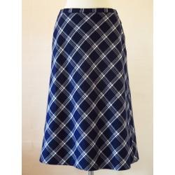 Ternet 70'er nederdel i marineblå/hvid-M