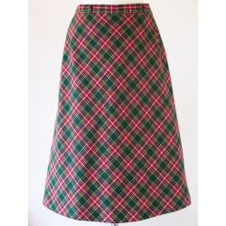 Grøn/rød ternet 70'er nederdel-S
