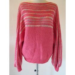 Tyk, lyserød stribet 80'er trøje-S