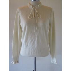Hvid 80'er trøje med flæse-S