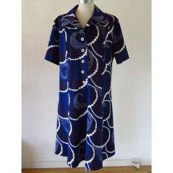 Mørkeblå 70'er kjole-XL
