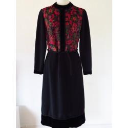 70'er kjole med blomstermønster-S/M