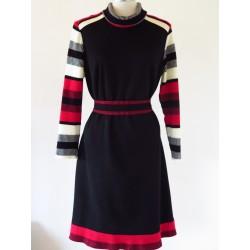 70'er kjole i sort/hvid/rød-M