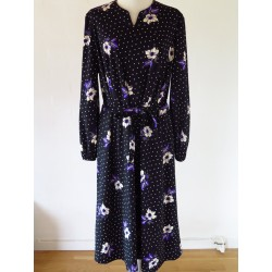 Sort 70'er kjole m. lilla blomster-L/XL