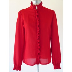Rød 80'er bluse-XS/S