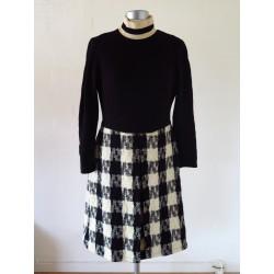 Klassisk 70'er sort/hvid kjole-S