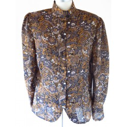 Bluse i brunlige efterårs farver-M