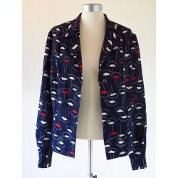 Mørkeblå 70'er jakke/bluse-L