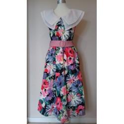 Storblomstret 80'er kjole-M