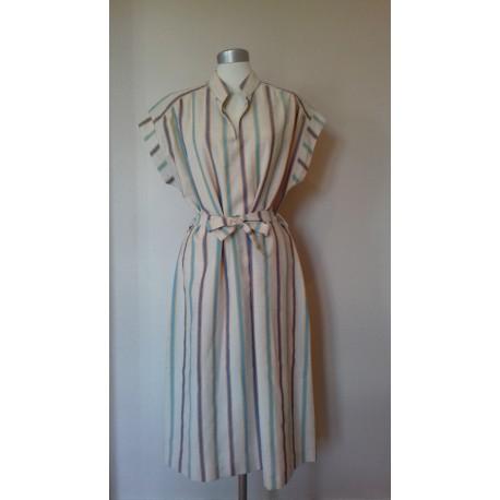 Stribet blå/tyrkis 70'er kjole-L