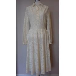 Vintage 70'er cremefarvet kjole-S