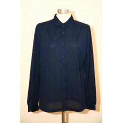 Marineblå 70'er bluse-S/M