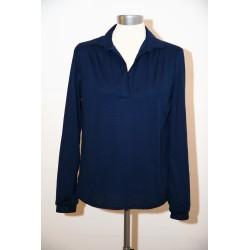 Marineblå 70'er bluse med V-hals-S