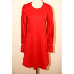 Rød 70'er kjole med plisserede ærmer-S