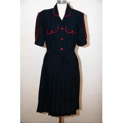 Marineblå 80'er kjole, lav talje-L
