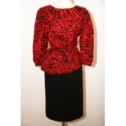 80'er kjole med rød/sort overdel-M