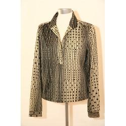 70'er bluse med grafisk mønster-M
