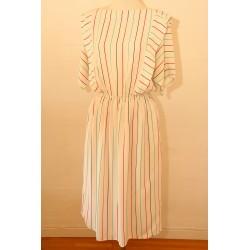 Hvid, stribet 80'er kjole-M