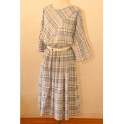 80s does 50s-lyseblå/hvid ternet kjole-L