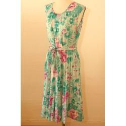 Mintgrøn, lilla 80'er kjole-M