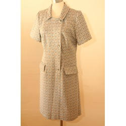 Lyseblå/beige 60'er kjole-M