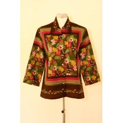 Brun, blomstret 70'er bluse-M