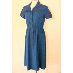Blå 70'er kjole-rød piping-S