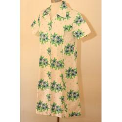 Hvid, blomstret 70'er kjole-M