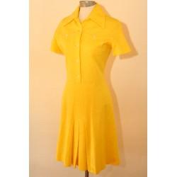 Knaldgul 70'er kjole-S
